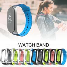 For Xiaomi 4 Smartbands 2019 Newest Dual-color Sports Soft Slicone Wrist Strap Metal Silicone Band Mi