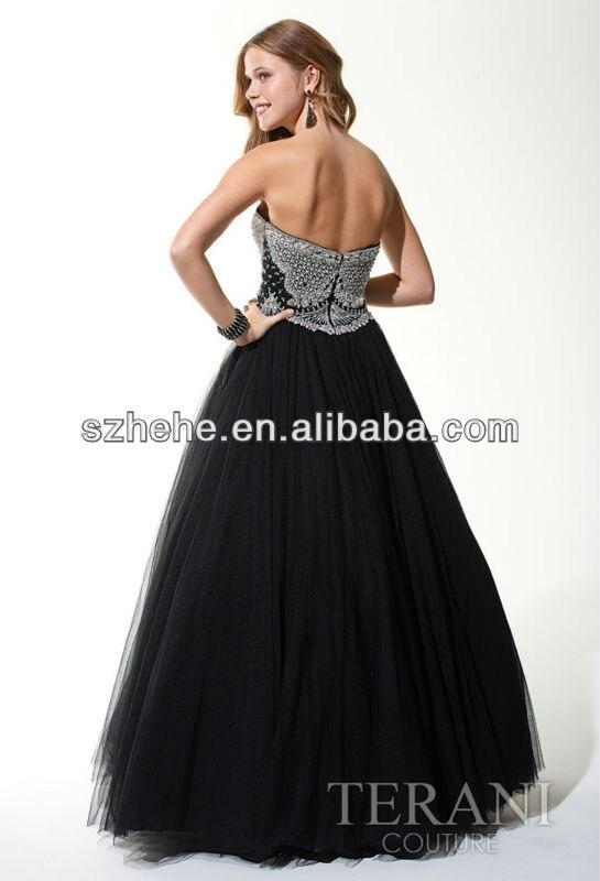 JMP009 Ball gown style heavy shiny white beaded black tulle skirt ...