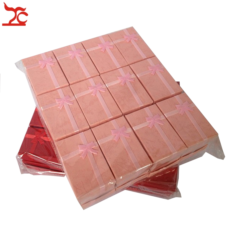48pcs/lot Paper Red Pink Fashion Jewelry Display and Packaging Box for Necklace Earrings Ring Box 5*8 Gift Boxes Free Shipping