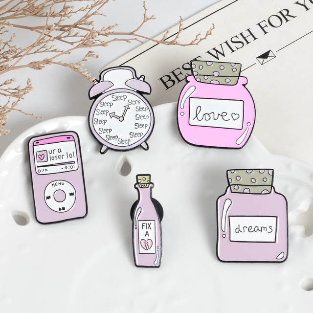 Pink Cartoon Pin Alarm clock Mp3 Enamel Lapel Brooches Fix a Broken Heart  Dreams Love Bottle Cute Badges Jewelry Full girl heart