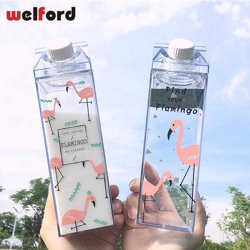 550ml NEW Fashion Design Flamingos Sports Water Bottle Milk Box plastic portable my drinking bottle BPA Free for outdoor travel