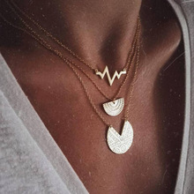 OLOEY 2019 New Fashion Multi-Layer Necklace Womens Bohemian Engraving Round Heartbeat Necklaces Female Geometric Jewelry