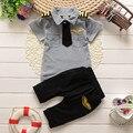 BibiCola 2016 nueva casual summer clothes suit childern ropa set niños bebés gentleman raya de la solapa de la ropa de los cabritos determinados traje traje