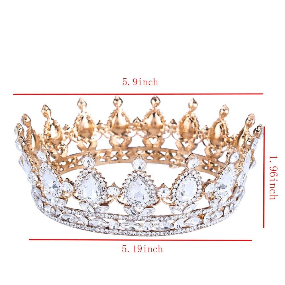 Lüks Vintage Altın Düğün Taç Alaşım Gelin Tacı Barok Kraliçe Kral