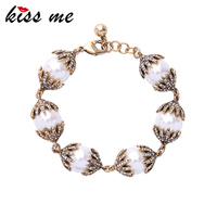 KISS ME Unique Crystal Simulated Pearls Charm Bracelet New Alloy Vintage Brand Jewelry Fashion Accessories