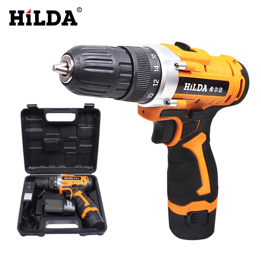 HILDA 12V Electric Screwdriver Rechargeable Lithium Double Speed Battery 2 Cordless Electric Drill Multi function Power