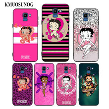 For Samsung Galaxy j8 j7 j6 j5 j4 j3 Plus Prime 2018 2017 2016 Black Silicone Phone Case Pink Betty Boop Style