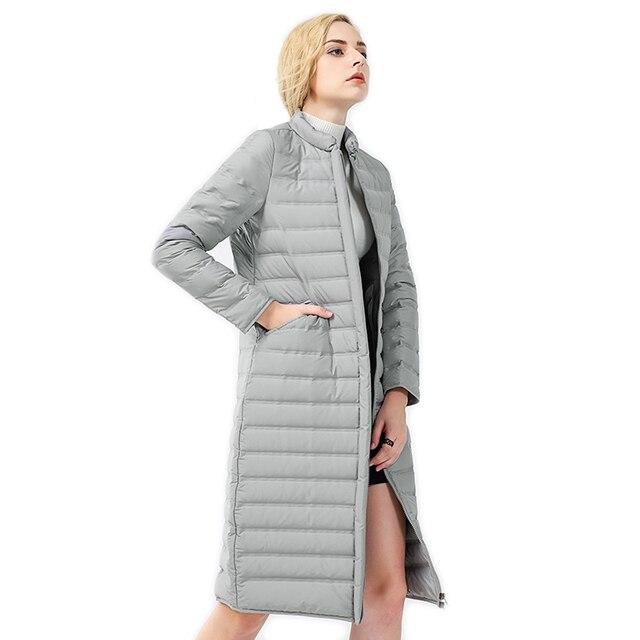 2017 Nova Chegada Longo Fino Zipper Inverno das Mulheres Casaco Cinza Simples E Elegante Bolsos das Mulheres Grosso Quente Para Baixo Casaco T1456