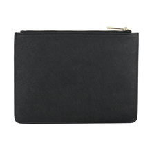 Ladies customed initial letters genuine saffiano leather pouch clutch bag with card slots