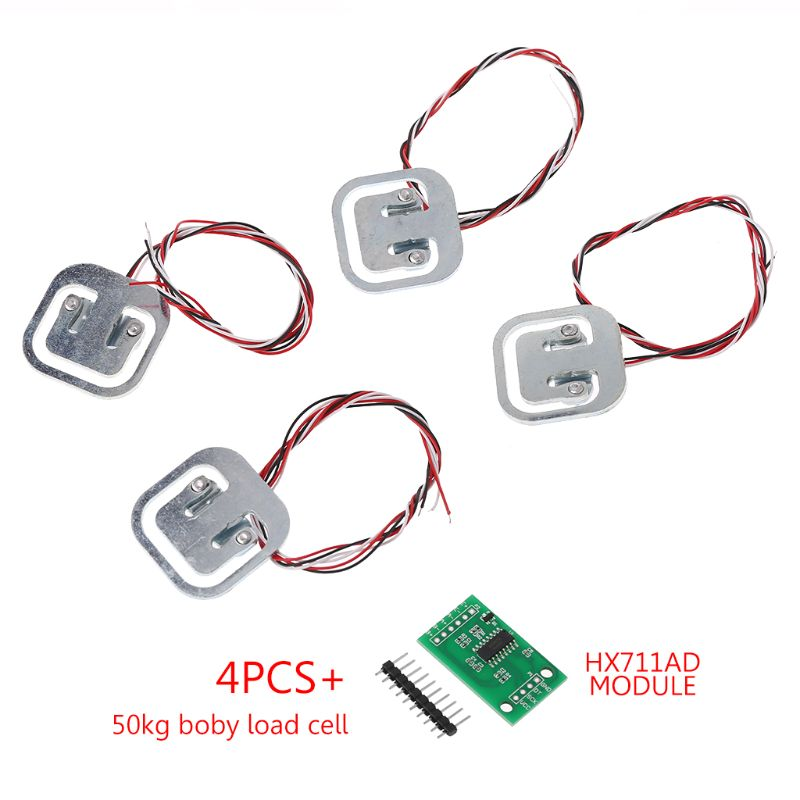 4 Pcs 50kg Human Scale Load Cells & HX711 AD Module Kit Resistance Strain Weight Sensor Measurement Tools