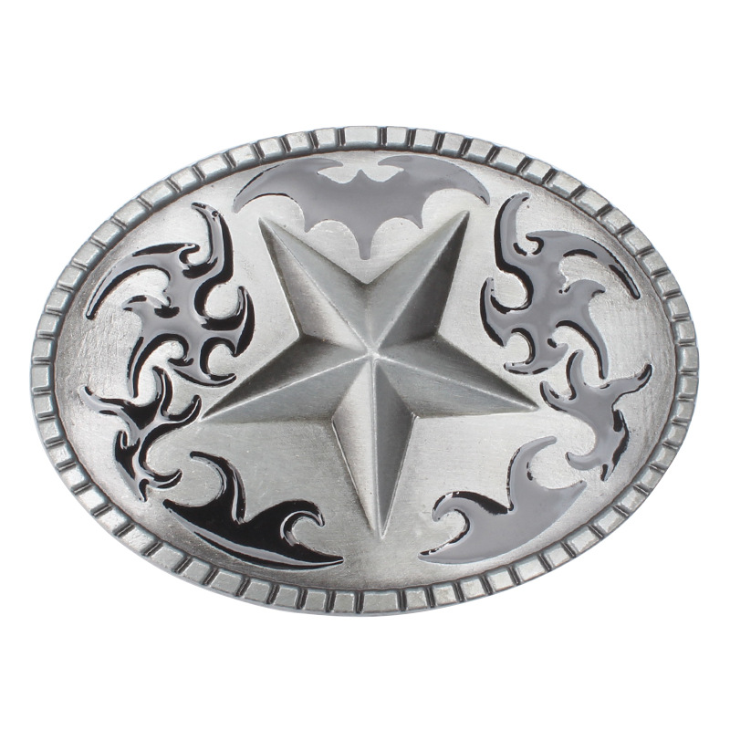 Flower Bottom Pentagram Alloy Belt Buckle