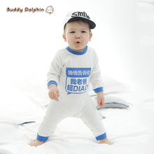 2017 Baby  Fashion Rompers Long Sleeves With Letter Words Baby One-pieces Out Walking Romper Clothes For Baby Girl & Boys.