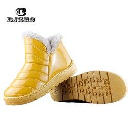CBJSHO Warm Winter Rubber Boots Women Fashion Rain Boots Female Ankle Botas Thick Waterproof Winter Shoes Plush Fur Snow Boots