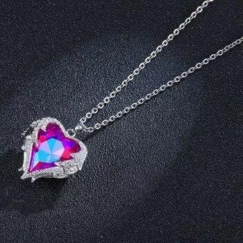 Angel Wings Necklaces Purple Crystal Heart Pendant Necklace Best Gifts For Women Girls Austria Crystals Fashion Jewelry kalung bentuk hati berwarna ungu
