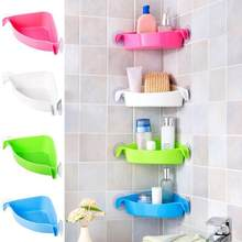 LanLan 4 Colors Bathroom Corner Storage Rack Organizer Shower Wall Shelf with Suction Cup Home Corner Kitchen Bathroom Shelves(China)
