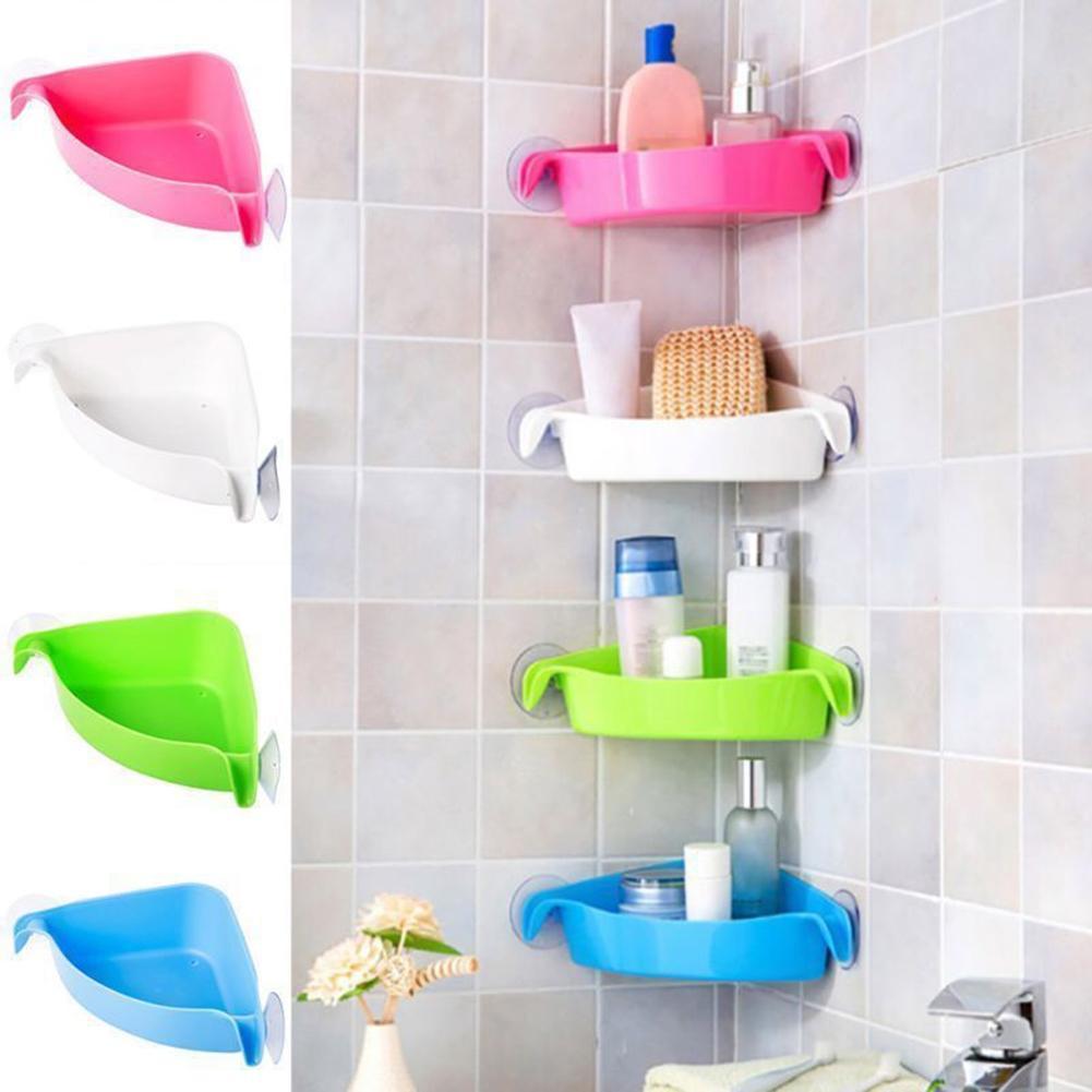 LanLan 4 Colors Bathroom Corner Storage Rack Organizer Shower Wall Shelf with Suction Cup Home Corner Kitchen Bathroom Shelves