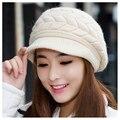 Baggy gorros chapéus para as mulheres de pele de coelho de crochê tampas novo esporte de inverno de esqui ao ar livre bonito causal malha 2016