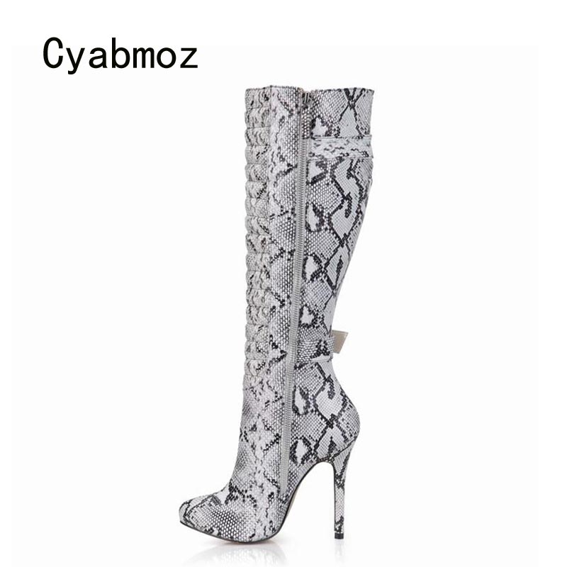 Cyabmoz Women Shoes Woman Knee High Heels Winter Boots Serpentine Zip Buckle Ladies Party Shoes Zapatillas Botas Zapatos Mujer 2017 fashion winter platform boots knee high heels women shoes woman zapatillas botas zapatos mujer zip for ladies party shoes