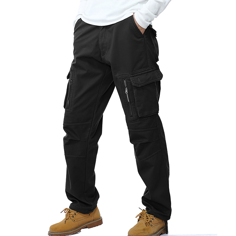 2017 Winter Thick Men Cargo Pants Warm Baggy Cotton Trousers For Men's Pants Military Tactical Army Green Khaki Pants size 28 40
