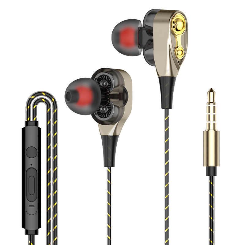 Auriculares internos estéreo con cable y controlador Dual, auriculares de graves para IPhone Samsung de 3,5mm, Auriculares deportivos para videojuegos con micrófono