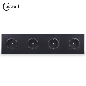 Image 1 - COSWALL 4 Gang Wall Power Socket Grounded 16A EU Standard Quadruple Outlet With Childen Protective Door PC panel