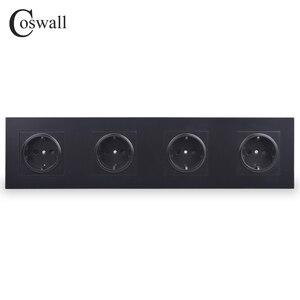Image 1 - Coswall 4 Gang Stopcontact Geaard 16A Eu Standaard Quadruple Outlet Met Kinderpark Beschermende Deur Pc Panel