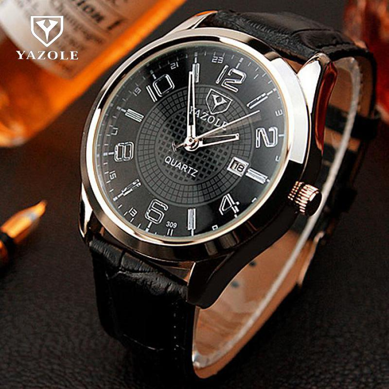 YAZOLE 2018 Wrist Watch Men Male Dress Business Quartz Watch Wristwatch Quartz-watch Relogio Masculino 309 /w Calendar daybird 3785 unisex quartz wrist watch w hollow calendar black red white silver 1 x lr626