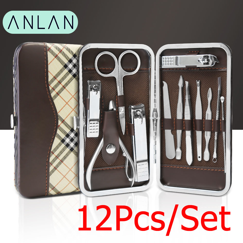 12pcs set ANLAN Manicure Nail Clippers Pedicure Set Portable Travel Hygiene Kit Stainless Steel Nail Cutter Tool Set coupe ongle in Clippers Trimmers from Beauty Health