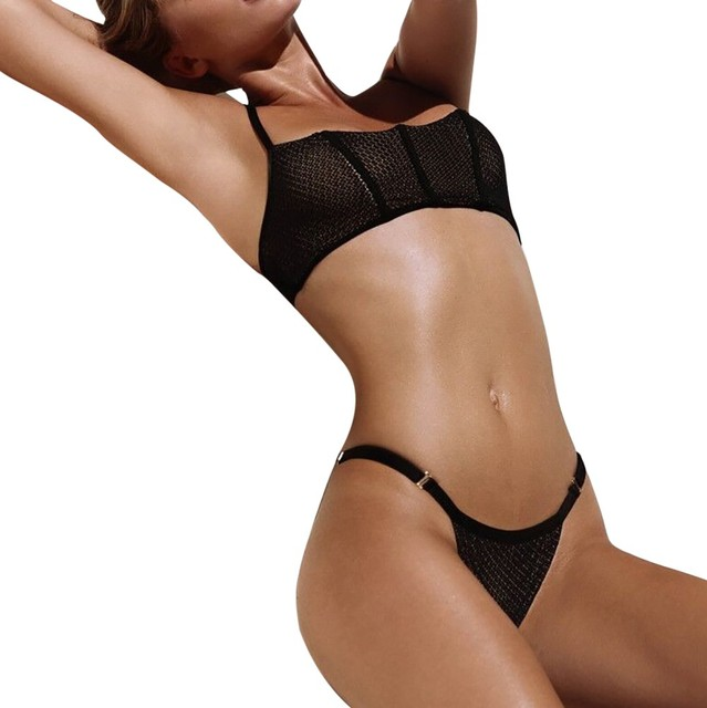 Net Yarn Sexy Bikinis Set Women Tankini Set Brazilian Swimwear Two-pieceSexy Swimwear WomenLow WaistBikini Brasileiro#Y30