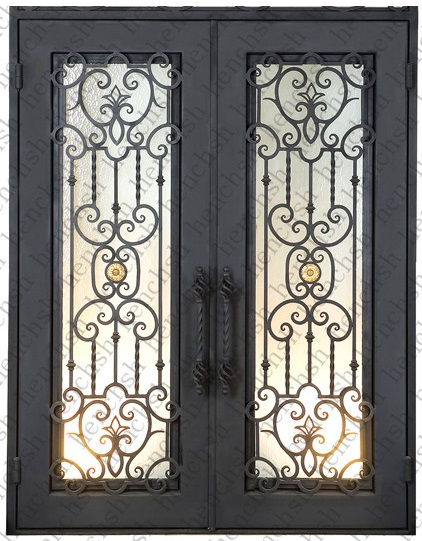 Custom design forged wrought iron front doors iron doors for Door design of iron