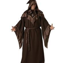 Темный маг Взрослый мужской костюм страшный черный Халат Волшебная тема вечерние Хэллоуин