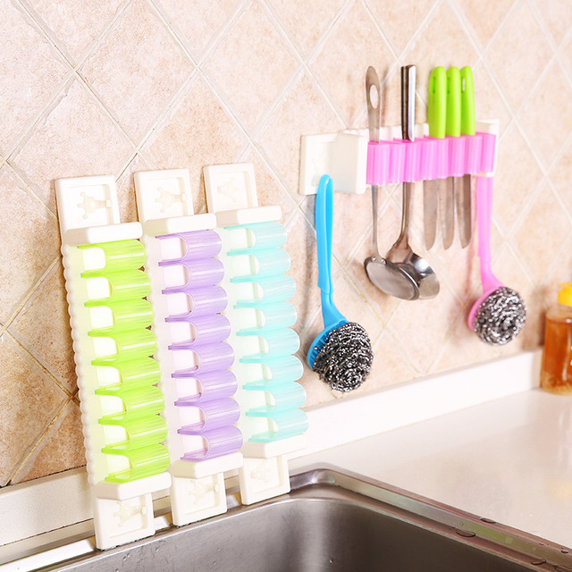 Multifunctional Kitchen Storage Tool Holder 7 Position With 2 Hooks Wall  Mounted Storage Organizer Scissors Holders