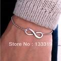 trendy silver plated gold plated 8 design bracelet infinity shape sideways charm Bracelets New Fashion,free shipping