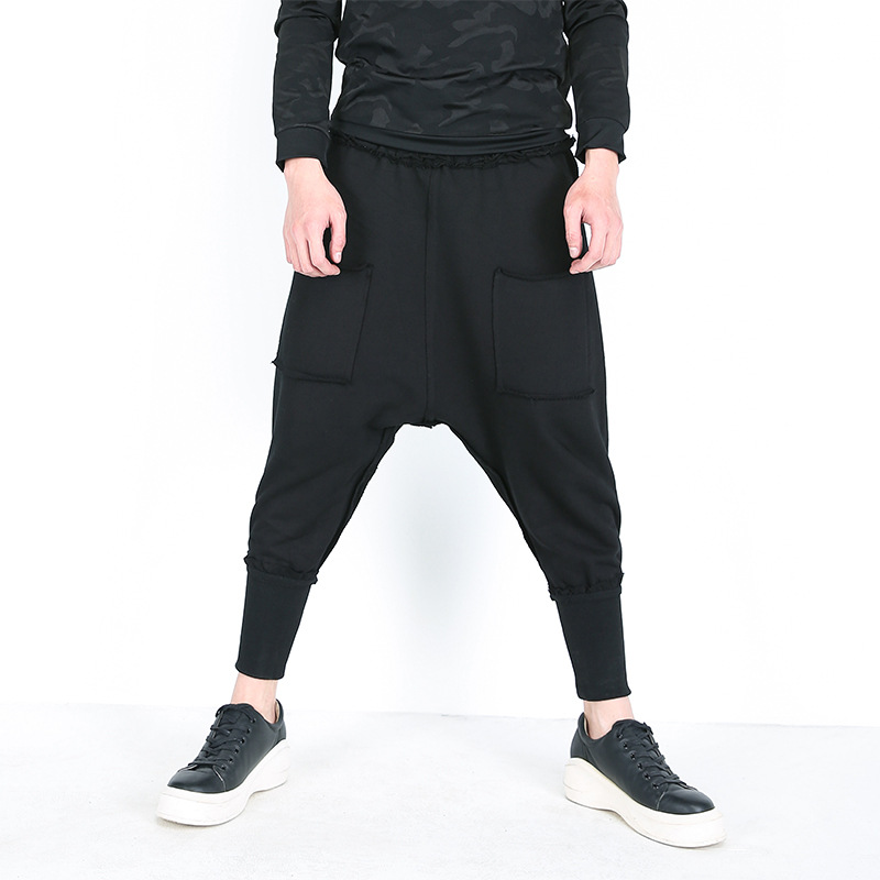Harem-Pants Pockets Stretch Loose Black Male Casual Fashion Ankle-Length Solid-Color
