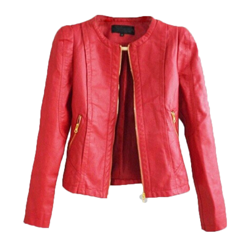 Red leather jacket women 2016 new fashion long sleeve slim for Red leather shirt for womens