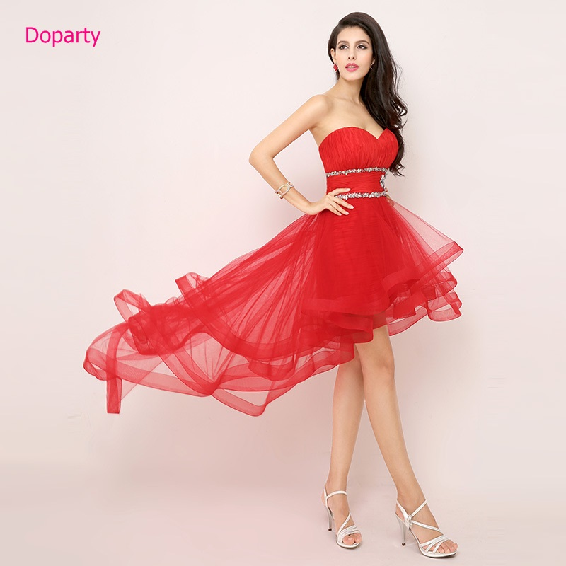 Doparty black red purple Turquoise tulle sleeveless dress for girls party sex front short back long evening dress for women 2017