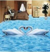 Free Shipping White Crane Living Room Bedroom 3D Floor Tiles Painting Waterproof Wear Non Slip Bathroom