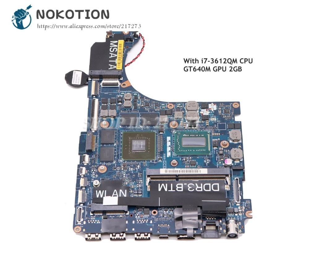 NOKOTION For Dell XPS 15 L521X Laptop Motherboard 15.6 inch CN-0HKTTR 0HKTTR QBL00 LA-7851P I7-3612QM CPU GT640M 2GB GDDR5 shuohu 12307 2 for dell inspiron 3437 5437 laptop motherboard doe40 hsw gddr5 mb 12307 2 new motherboard i7 cpu gt750m
