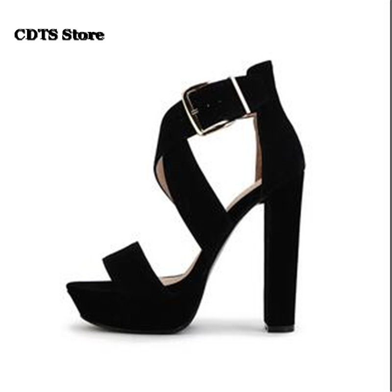 CDTS popular shoes women 14cm ultra high thick heels sandals cross straps fashion platforms plus size pumps zapatos mujer cdts zapatos mujer 34 39 summer sexy women platform sandals 14cm thick high heels open toe wedding shoes woman cross strap pumps