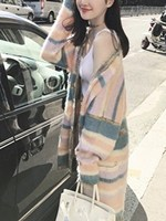Women Fall New Polychrome Stripe Placket Mohair Cardigan Fashion Button Pocket Long Sleeve Sweater
