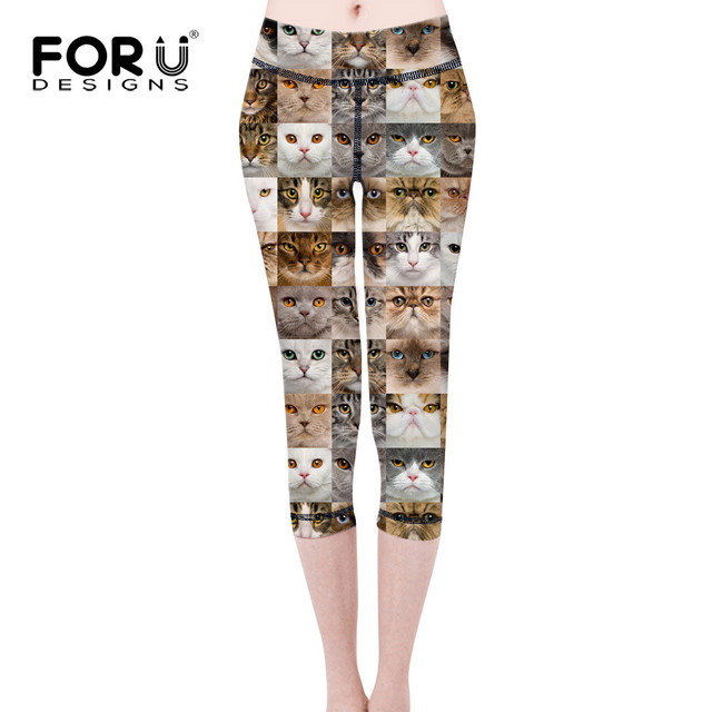 FORUDESIGNS Fashion Animal Shapes Cats 3D Printing Punk Women's Legging Slim fit Trousers Casual Pants Leggings pantalon femme