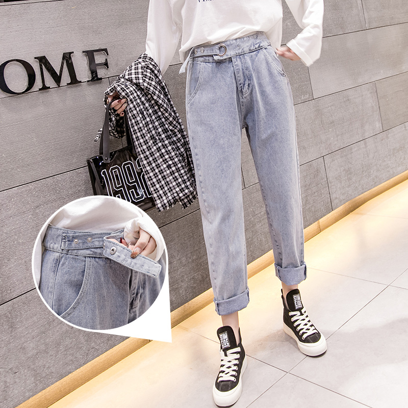 2019 spring new wild long Korean street casual wild straight women's jeans ankle-Length pants 5