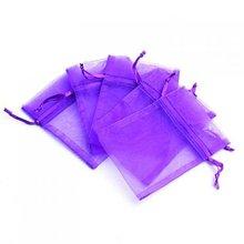 100 Pcs Organza Wedding Favour Bags Jewellery Pouches Purple