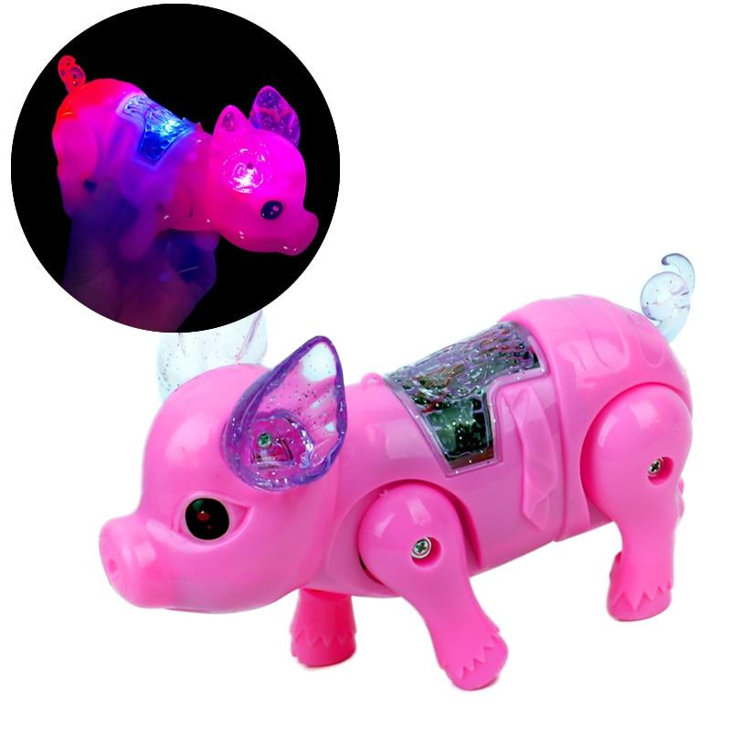 Hot Cute Electric Music Walking Pig Toys LED Light Glow Electronic Pets Lantern Toy Children Kids Baby Girl Boy Educational Toys
