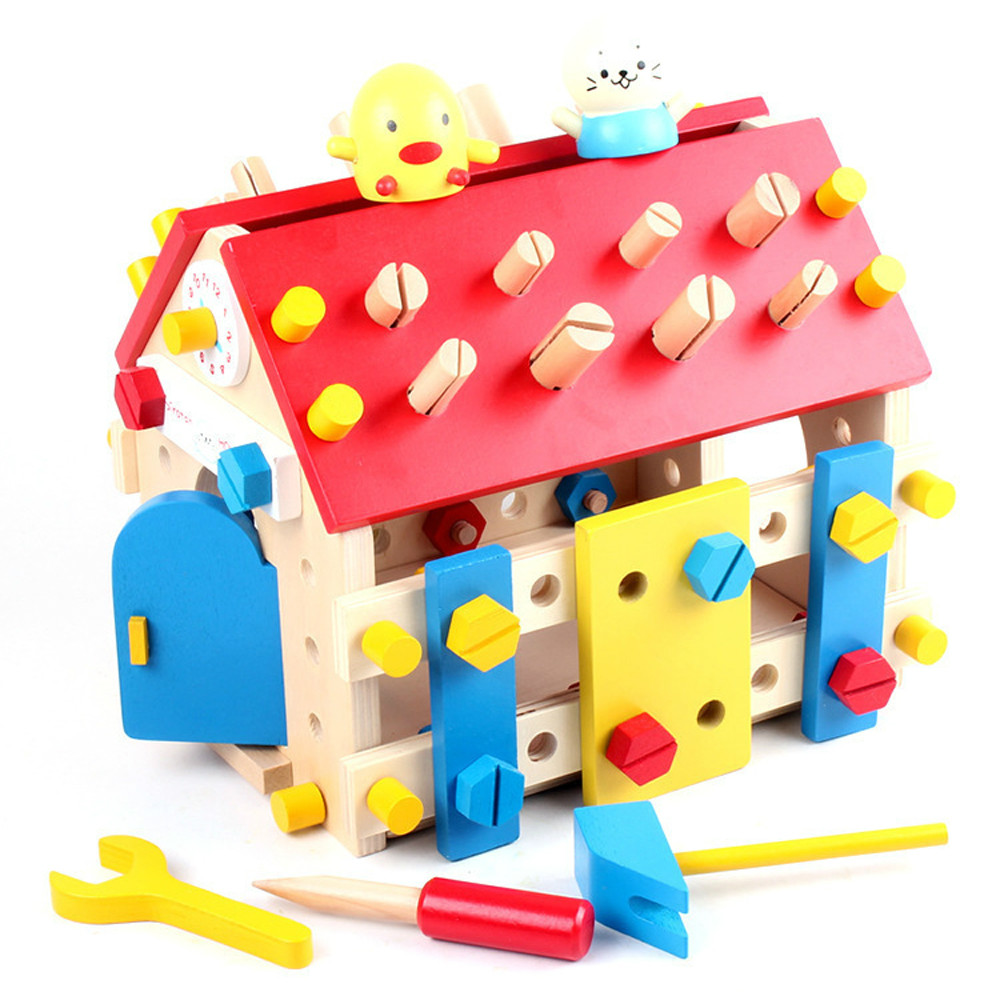 Mother Garden Children Wooden Toy Play Game Wood Screw Nut Assembly Toys House For Kids