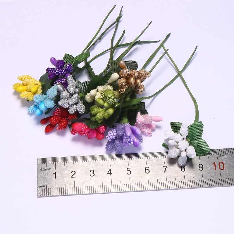 CCINEE 12 pièces/lot mûrier fête artificielle fleur étamine fil tige/mariage feuilles étamine décoration de boîte de mariage