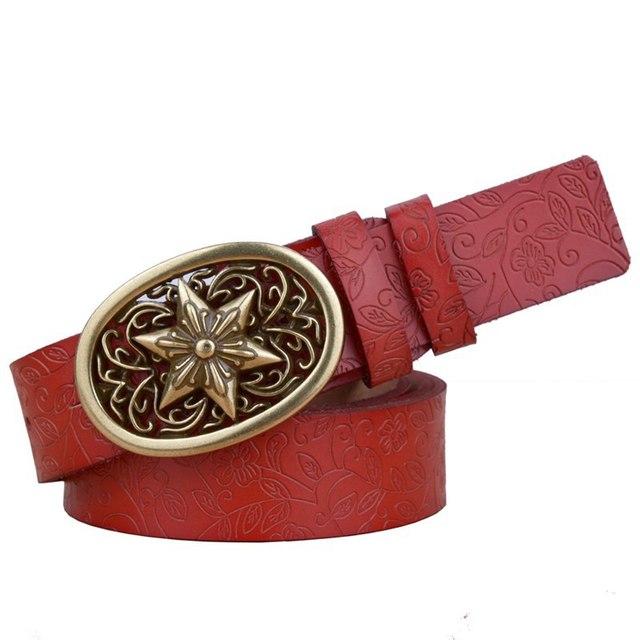 Women Fashion Genuine Leather Belt Carved Belts Vintage Floral Alloy Slide Buckle Elegant Women Belt Cintos Cinturon