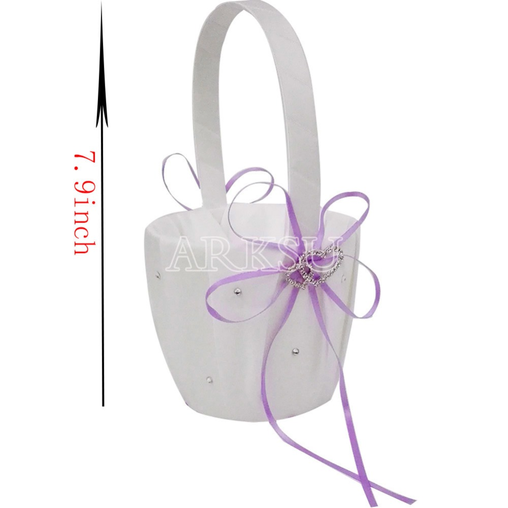 Lavendar Flower Girl Baskets for Wedding Favors Basket Bridesmaid ...