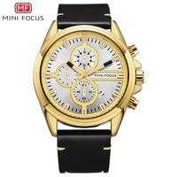 Minifocus 2018 유명 브랜드 쿼츠 leathter 손목 시계 스포츠 남성 시계 크로노 그래프 남성용 큰 시계 montre homme