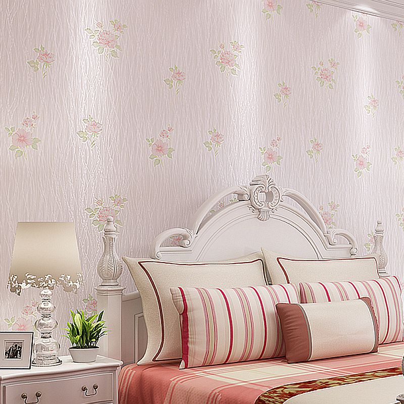 beibehang forest striped wallpaper Pastoral flowers warm bedroom wallpaper living room sofa backdrop non-woven wedding room